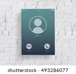 incoming mobile call... | Shutterstock . vector #493286077