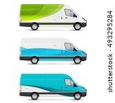 mockup white bus. set of design ... | Shutterstock .eps vector #493295284