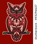 owl on a red background | Shutterstock .eps vector #493296637