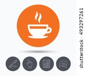 coffee cup icon. hot tea drink... | Shutterstock .eps vector #493297261