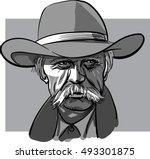 old cowboy with a hat vector... | Shutterstock .eps vector #493301875
