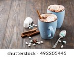blue cups of hot chocolate...   Shutterstock . vector #493305445