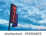 red motel neon sign over a... | Shutterstock . vector #493306855