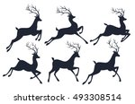 Stock vector christmas reindeer silhouettes isolated on white background vector set 493308514