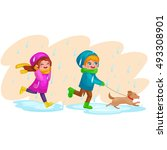 kids in raincoats and rubber... | Shutterstock .eps vector #493308901