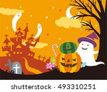 vector illustration of a scary... | Shutterstock .eps vector #493310251