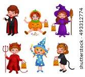 happy halloween. set of cute... | Shutterstock .eps vector #493312774
