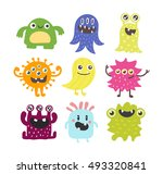 cute monster color character... | Shutterstock .eps vector #493320841