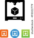 3 d printer with cube icon | Shutterstock .eps vector #493322779