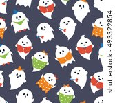 cartoon ghosts halloween... | Shutterstock .eps vector #493322854