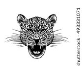 leopard face tattoo  vector... | Shutterstock .eps vector #493331071