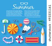 summer vecetion time background ... | Shutterstock .eps vector #493331161