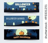 retro halloween time background ... | Shutterstock .eps vector #493331251
