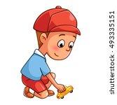 Boy Playing A Car Cartoon Styl...