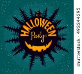 halloween party  house in the... | Shutterstock .eps vector #493344295