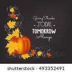 hand drawn thanksgiving... | Shutterstock .eps vector #493352491