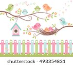 Stock vector the best nest cute birds on branches chicks in nest 493354831