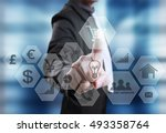 businessman with financial... | Shutterstock . vector #493358764