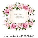 natural vintage greeting card... | Shutterstock .eps vector #493360945