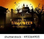 scary old graveyard and farm at ... | Shutterstock .eps vector #493364905