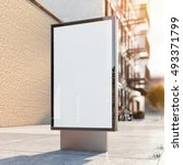 black advertising stand on a... | Shutterstock . vector #493371799