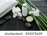 white towel and stones and... | Shutterstock . vector #493372639
