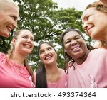 women breast cancer support...   Shutterstock . vector #493374364