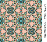 seamless pattern ethnic style... | Shutterstock . vector #493376764