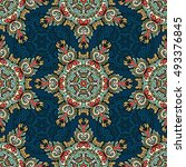 seamless pattern ethnic style... | Shutterstock . vector #493376845