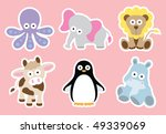 Stock vector vector illustration of cute animal characters white strokes are on separate layer so they can be 49339069