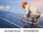 one electrician working on... | Shutterstock . vector #493408054