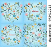 blue watercolor floral patterns ... | Shutterstock .eps vector #493412215