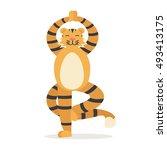 Yoga Animal Tiger. Cute Tigris...
