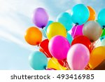 colorful birthday balloons ... | Shutterstock . vector #493416985