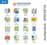 color flat line icons set of... | Shutterstock .eps vector #493418731