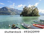 Annecy Lake View With Boats In...