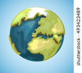 cartoon earth planet globe... | Shutterstock .eps vector #493423489
