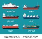 set of ships in modern flat... | Shutterstock .eps vector #493431409