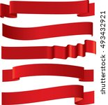 red ribbons set. sale banner | Shutterstock .eps vector #493432921