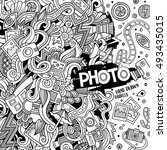 cartoon cute doodles hand drawn ... | Shutterstock .eps vector #493435015