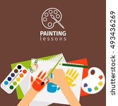 kids painting lessons painting... | Shutterstock .eps vector #493436269