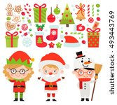 set of christmas characters and ... | Shutterstock .eps vector #493443769