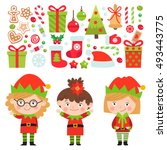 set of christmas characters and ... | Shutterstock .eps vector #493443775