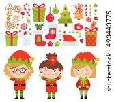 Set Of Christmas Characters An...