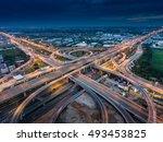 highway junction from aerial... | Shutterstock . vector #493453825