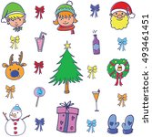 doodle color christmas set... | Shutterstock .eps vector #493461451