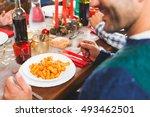 italian tomato sauce pasta for...   Shutterstock . vector #493462501