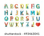english alphabet with humans... | Shutterstock . vector #493463041