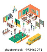 school conceptual  in isometric ... | Shutterstock . vector #493463071