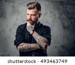 stylish tattooed  bearded...   Shutterstock . vector #493463749